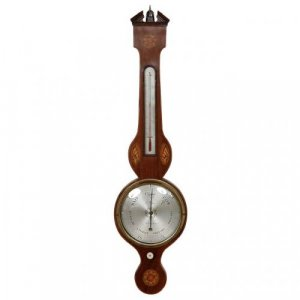 A Victorian period exotic wood marquetry barometer and thermometer