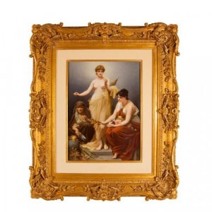 A large and important KPM porcelain plaque of the three Fates