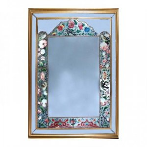 A reverse glass painted mirror within giltwood frame