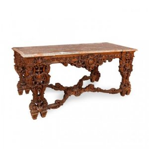 A large Régence style mahogany rectangular centre table with marble top