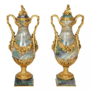 A pair of ormolu mounted fluorspar vases
