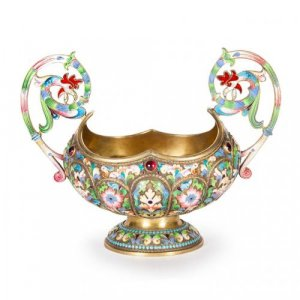 A two-handled silver gilt and cloisonne enamel bowl