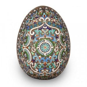 A large silver gilt and cloisonne enamel egg