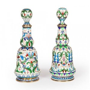 A pair of silver gilt and cloisonne enamel perfume flasks