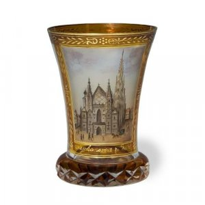 A glass cup enamelled with a view of St. Stephen's Cathedral, Vienna