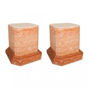 A pair of large veined pink marble pedestals
