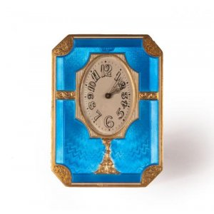 A silver gilt and blue guilloché enamel table clock