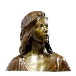 An Art Nouveau period patinated bronze bust of Jesus Christ by François-Raoul Larche