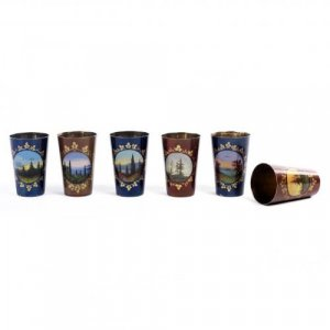 A set of six enamelled silver gilt vodka cups