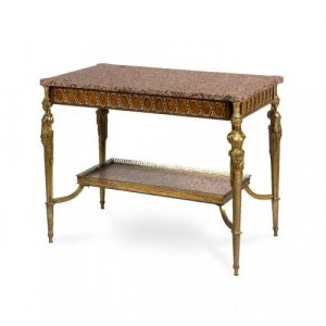A Louis XVI style ormolu, mahogany and marble centre table