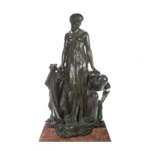 A large patinated bronze group: Unveiling the Princess by H. Dumaige
