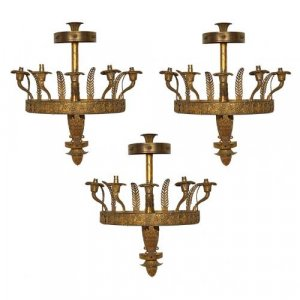 A set of three Empire style ormolu wall lights