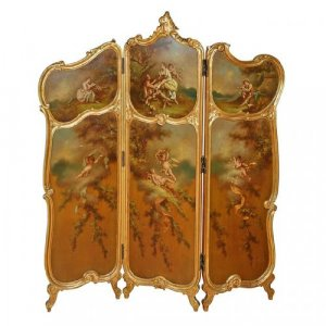 A Rococo style giltwood and painted three panel screen