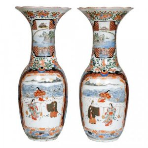 A pair of large Imari porcelain vases