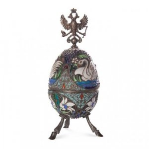 A Russian silver and cloisonné enamel egg