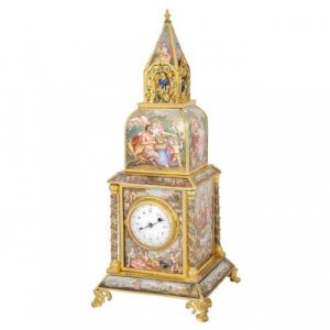 A fine silver gilt mounted Viennese enamel table clock