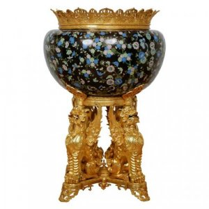 A very large ormolu and cloisonné enamel jardinière attributed to F. Barbedienne