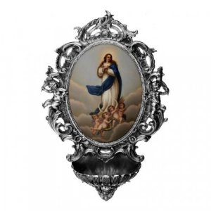A porcelain and silver Holy Water stoup