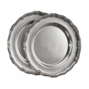 Two round silver plates by Adolf Shper