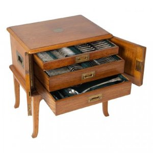A 96 piece Victorian silver canteen in an oak box by J & J Williams