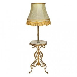 An ormolu and marble standing lamp