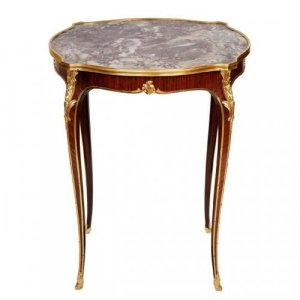 A Louis XV style ormolu mounted side table with marble top, retailed by Deveraux