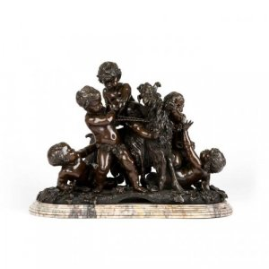 A fine patinated bronze figural group