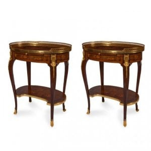 A fine pair of ormolu mounted marquetry side tables