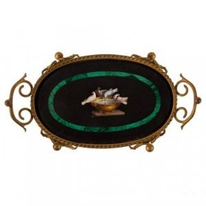 A Roman micromosaic, black marble, malachite and ormolu tazza