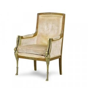 An Empire style ormolu mounted armchair