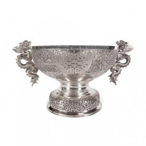 A silver twin handled jardinière