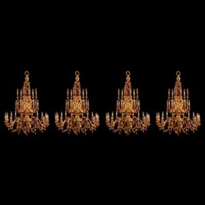 A set of four large and impressive ormolu thirty three light chandeliers