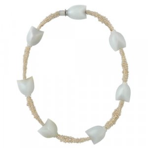 Carved gemstone and pearl necklace by Charlotte de Syllas