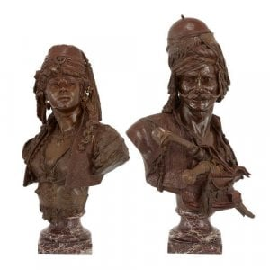 Large pair of Orientalist patinated bronze busts by Guillemin