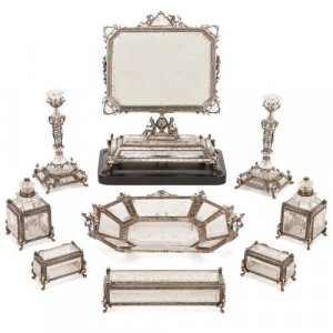 Viennese enamel, rock crystal and silver toilet set