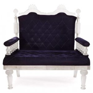 Osler style cut glass and purple velvet sofa