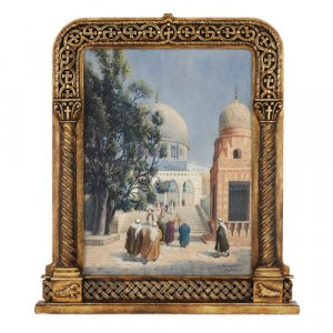 Painting of the Dome of the Rock in Jerusalem by Aescher