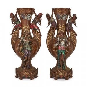 Large pair of Orientalist cold painted spelter vases