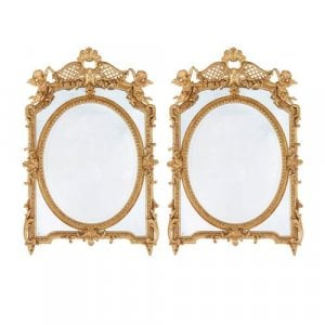 Antique Neoclassical style pair of French giltwood mirrors