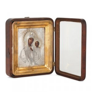 Russian silver icon after the Mother of God of Kazan