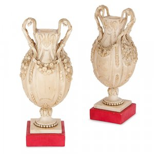 Pair of 19th Century miniature Dieppe ivory ovoid vases
