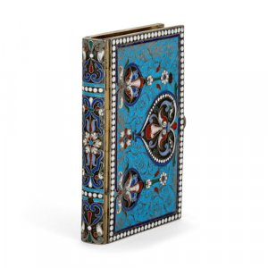 Antique Russian silver-gilt and cloisonné enamel carnet de bal