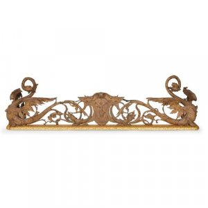 Antique French silvered and gilt bronze fireplace fender