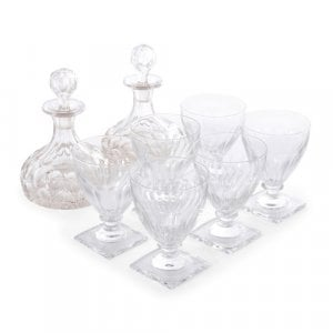 Set of French cut glass decanters and glasses