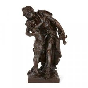 Antique patinated bronze figural group by Henri Plé