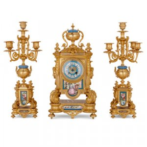 Antique ormolu mounted Sèvres style porcelain clock set