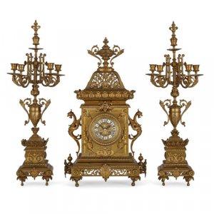 Régence style ormolu three-piece clock set