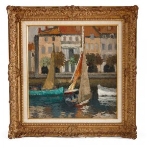 Impressionist oil painting of a harbour scene by Fontayne