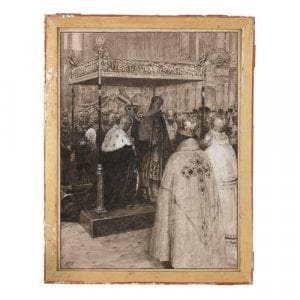 'Crowning of a Tzar', Russian grisaille watercolour painting