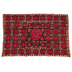 Antique Suzani Bukhara hand-embroidered textile panel